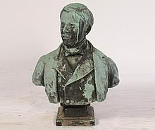 TURN OF THE CENTURY LIFE SIZE BRONZE BUST MAN