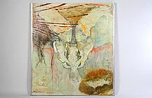 LARGE OIL MOUNTED CANVAS PELVIS TRANSPARENT WASH