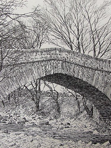 A pen and ink sketch, Alfred Wainwright,The Bridge