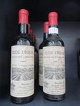 Eight half bottles of wine, Clos L'Eglise 1964