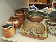 A set of Studio pottery and vintage glazed