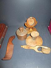 A selection of treen including 19th century watch