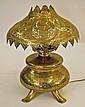 Orientalist Pierced Brass Footed Oil Lamp, C.1880