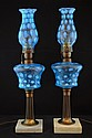 A Pair of Fenton Blue Opalescent Coin Dot Lamps