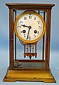 French Brass and Glass Clock with Beveled Glass