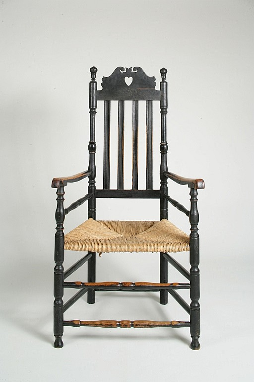 Black Painted Queen Anne Heart and Crown Arm Chair