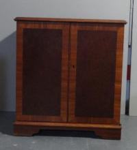 Record Cabinet with internal shelf & divisions, cross banded front & top, figured veneer