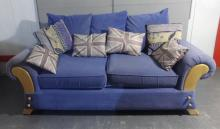 Modern Cloth Covered 3 Seater Settee, on beech supports, squab cushions, roll-over arms