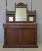 Late Victorian Chiffoniere with pair turned columns, arched panelled doors, serpentine fronted shelf, superstructure with galleried top, rectangular mirror plate with 2 small square mirror plates under, on plinth base