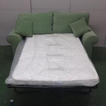 Modern As New Sofa Bed with roll-over arms, squab cushions, upholstered in green fabric