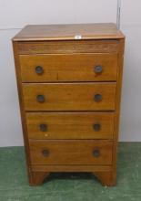 Tall Oak Chest of 4 Drawers with decorative frieze