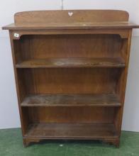 Set Oak Open Bookshelves with raised upstand pierced with heart motif, adjustable shelves