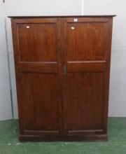 2 Door Low Oak Wardrobe on plinth base with shoe rack, 3 drawers & open shelves