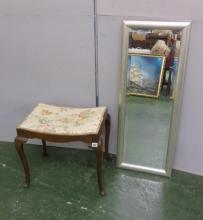 Silver Metal Effect Framed Hall Mirror & Saddle Seated Dressing Table Stool on cabriole pad footed supports (2)