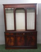 Reproduction Style Mahogany 3 Door Side Cabinet on plinth base, 3 cock beaded frieze drawers, superstructure with 2 glazed doors under dentil cornice, open hutch to centre