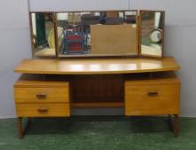G Plan Bow Fronted Retro Teak Dressing Table with 1 bank 2 short drawers & door with internal fittings, raised top with triple central long mirror with wings