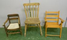Early Victorian Childs Chair, Trafalgar back with plain bar, on turned kicked-out supports, circular cut-out for chamber pot, Childs Elm Seated Stick Back Chair & Childs Folding Chair with slatted seat (3)