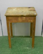 Childs Beech School Desk with hinged cover, on rounded corner square section supports