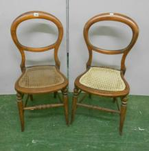 2 Victorian Stained Beech Bedroom Chairs on kicked-out supports, caned seats (2)