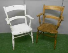 Painted Suffolk Elm Seated Carver Chair & Matching Stripped Elm Seated Suffolk Carver Chair (2)