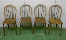 Set 4 Elm Seated Hoop Stick Back Kitchen Chairs on turned supports (4)