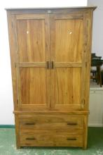 Carved Hardwood 2 Door Bookcase with twin panelled doors over 2 long drawers with wooden pulls