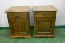 Pair Carved Hardwood Bedside Cabinet, single drawer over door, carved with elephant, on shaped plinth base (2)
