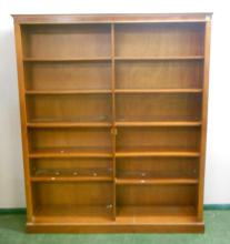 2 Section Bookcase with adjustable shelving, dentil cornice