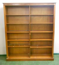 Large Open 2 Section Bookcase on plinth base with adjustable shelving, under dentil cornice