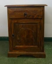 Carved Hardwood Side Cabinet with single drawer over panelled door, on shaped plinth base