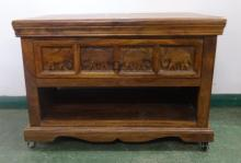Carved Hardwood Side Cabinet, long drawer with open hutch under, rectangular top, on wavy plinth base with castors