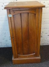 Victorian Ash Bedside Cabinet on plinth base, arched panelled door with internal shelf