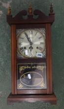 2 Train Mantel Clock by Highlands, glass front with broken arch pediment, acorn turned finials