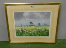 F/g Watercolour Open Farm Land with buildings, cowslip to fore, by Heather Hilder, daughter of Roland Hilder, approx. 15