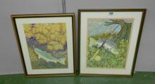 Pair F/g Watercolours Brown Trout & Angling Equipment by Bower Tristram dated 1994 & 1993 (2)