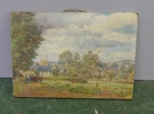Unframed Oil On Canvas Country Church with rural view & figure on pathway, monogrammed