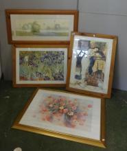 Pre Raphaelite Style Print, Irises  & Hot Air Balloons in pine frames & Still Life Flowers in gilded frame (4)
