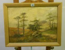 Oil on Canvas Moorland Scene with hills, trees, figure sitting looking over valley, purported to be exhibit at Kensington Art Gallery 1900, signed F. Vigo, approx. 20