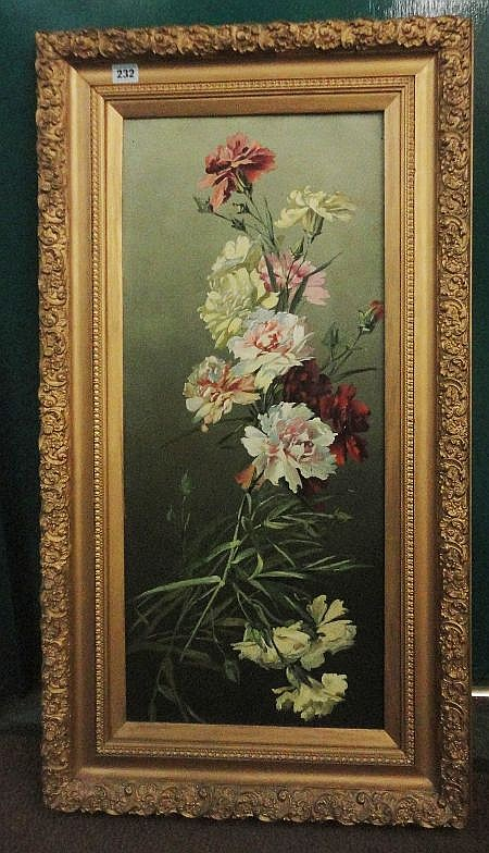 Oil on Board, Still Life of Flowers in gilt frame