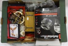 Costume Jewellery, gold tone earrings, beaded necklaces, bangles, Parker biro pens, scarves, oak jewellery box, Babyliss Easy Cut, suit covers, etc. (1 Box)