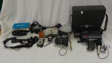 Bauer Cine Camera, Sankyo XL60S Super 8 Cine Camera with microphone & instruction manual in case, Canon 3000 EOS Camera, Praktica zoom lens, Canon zoom lens, camera strap & light metre (1 Box)