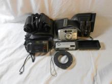 Hanimex Binoculars 8x30, Samsung Cameras, Pair Jessops 8x21 field binoculars, Kodak Ektra 12 camera etc. (1 Box)