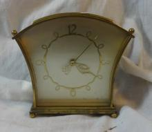 Retro Brass Mantel Clock with scrolling chapter ring, Arabic numerals, heart shaped hands