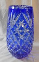 Bohemian Blue Over Clear Cut Glass Vase, approx. 11 1/2