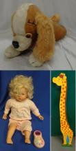 Vintage Merrythought Dog Pyjama Case, Zape Creation French Talking Doll & Giraffe Measuring Chart (3)