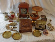 Dominoes, leather bound Don Quixote, quartz mantel clock, brass pestle & mortar, pair brass candlesticks, cork pictures, etc. (1 Box)