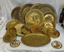 Brassware Platters decorated with galleons, interior scenes, hunting scenes etc. (1 Box)