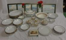 Bone China & Egg Shell China Dinner Wares, oriental coffee cans & saucers, Noritake Spectrum saucers & plates, vegetable tureens, green & gilded jug, Noritake Glen Abbey P586 part dinner service & placemats (2 Boxes)
