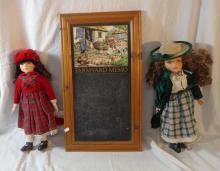 Porcelain Headed Doll wearing Scottish tartan skirt with hat, Similar Doll wearing green checked skirt & green velvet jacket & Farmyard Memo Blackboard in frame (1 Box)