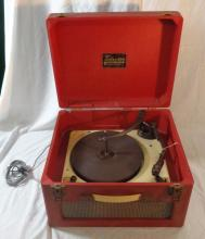 Trixette Portable Electric Gramophone in red & white polka dot vinyl case